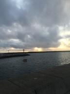 sun setting redondo pier